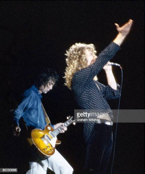 Photo of Robert PLANT and Jimmy PAGE and LED ZEPPELIN, L-R: Jimmy Page, Robert Plant performing live onstage at Knebworth during the finale of their...