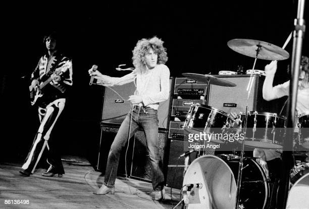 Photo of Roger DALTREY and John ENTWISTLE and The Who LR John Entwistle Roger Daltrey Keith Moon performing live onstage at Falkoner Centret