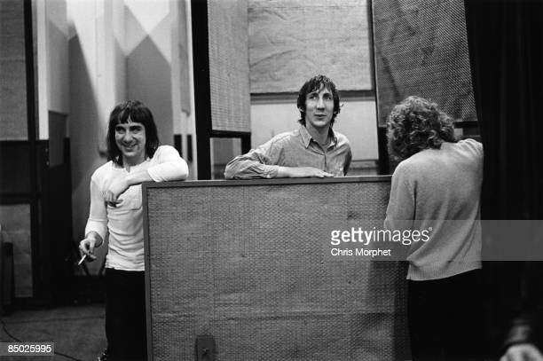 Photo of Roger DALTREY and Pete TOWNSHEND and Keith MOON and The Who Keith Moon Pete Townshend and Roger Daltrey discussing recording in IBC Studios...