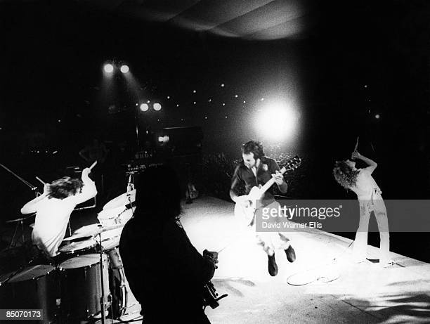 Photo of Roger DALTREY and Pete TOWNSHEND and Keith MOON and The Who and John ENTWISTLE Group shot playing live on stage at the Parc des Expositions...