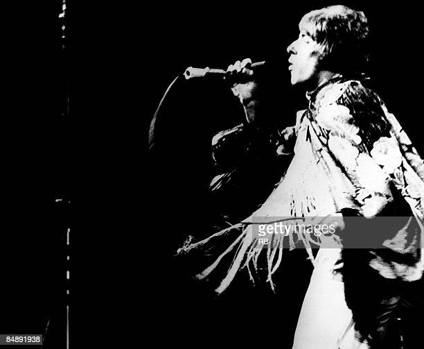 FESTIVAL Photo of Roger DALTREY and The Who Roger Daltrey performing on stage at the Monterey Pop Festival
