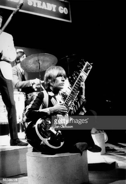 Photo of ROLLING STONES and Brian JONES, of the Rolling Stones, performing 'Paint It Black' on 'Ready Steady Go!' TV Show at Wembley Studios, playing...
