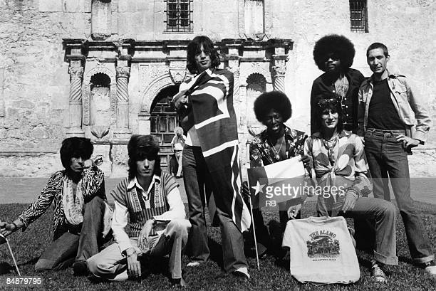 TEXAS Photo of ROLLING STONES and Keith RICHARDS and Bill WYMAN and Mick JAGGER and Ollie BROWN and Ron WOOD and Billy PRESTON and Charlie WATTS...