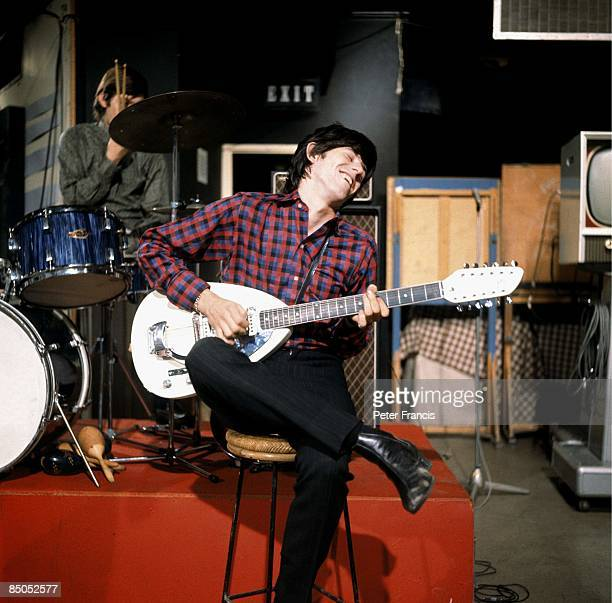 GO Photo of ROLLING STONES and Keith RICHARDS of the Rolling Stones playing Vox Mark XII twelvestring guitar on the set of Ready Steady Go TV Show at...