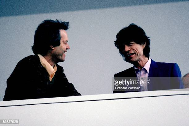 Photo of ROLLING STONES and Mick JAGGER and Chris JAGGER of the Rolling Stones with his brother Chris at the opening of the Mick Jagger Centre