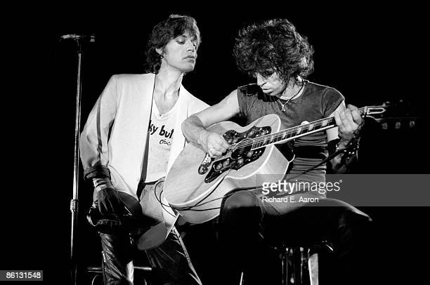 Photo of ROLLING STONES and Mick JAGGER and Keith RICHARDS Mick Jagger and Keith Richards performing on stage at the Oshawa Civic Auditorium playing...
