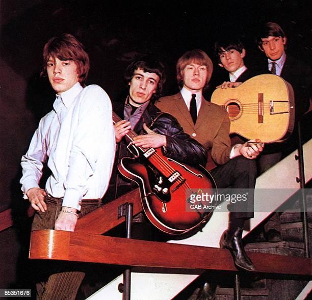 Photo of ROLLING STONES Group portrait LR Mick Jagger Bill Wyman Brian Jones Keith Richards and Charlie Watts