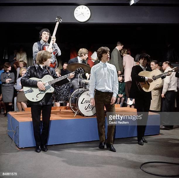Brian Jones Bill Wyman Charlie Watts Mick Jagger Keith Richards performing on UK TV Show at Kingsway Studios c1964