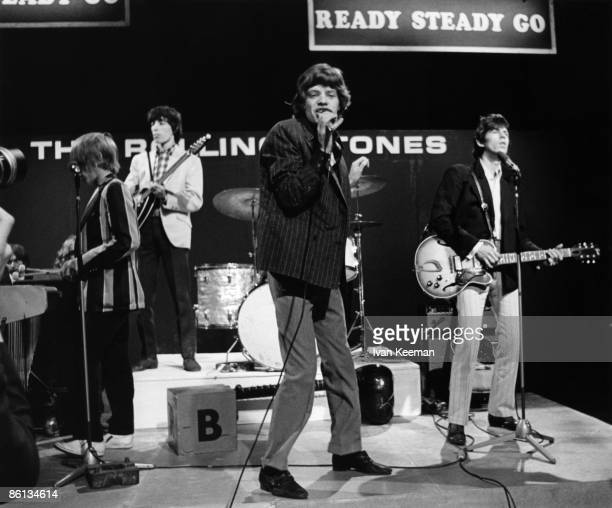 Photo of ROLLING STONES, L-R. Brian Jones, Bill Wyman, Mick Jagger, Keith Richards performing 'Under My Thumb' on 'Ready Steady Go!' TV Show at...