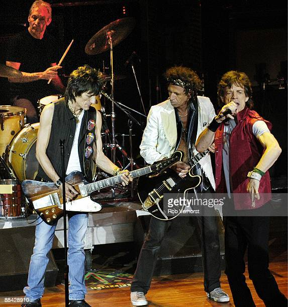 Photo of ROLLING STONES LR Charlie Watts Ron Wood Keith Richards Mick Jagger performing live onstage on Bridges To Babylon tour