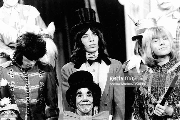 Photo of ROLLING STONES on the set of 'Rock 'n' Roll Circus' LR Keith Richards Mick Jagger Brian Jones