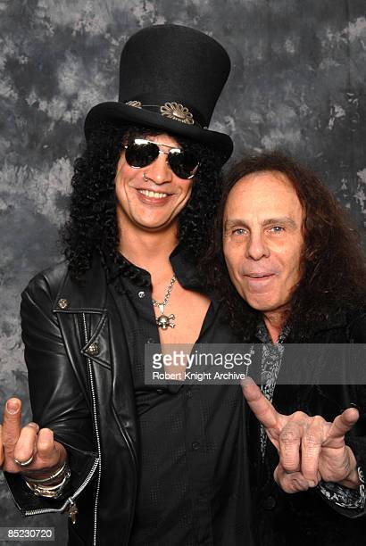 HOLLYWOOD Photo of Ronnie DIO and SLASH LR Slash Ronnie Dio being inducted into the Rock Walk