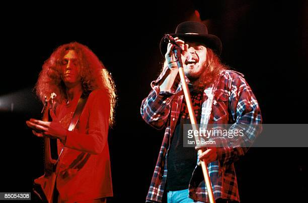 THEATRE Photo of Ronnie VAN ZANT and Allen COLLINS and LYNYRD SKYNYRD Allen Collins and Ronnie Van Zant performing live onstage