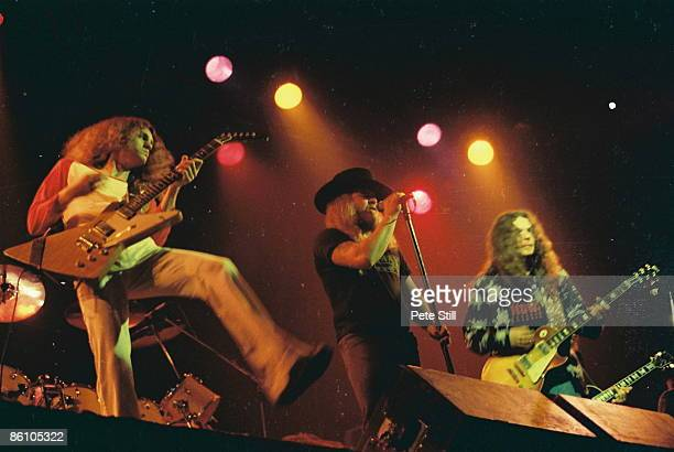 APOLLO Photo of Ronnie VAN ZANT and LYNYRD SKYNYRD and Allen COLLINS and Gary ROSSINGTON Allen Collins Ronnie Van Zant Gary Rossington performing...
