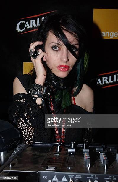FESTIVAL Photo of Roxy Saint @ Reading Fest 2004 280804 Roxy Saint DJ's in the Orange/Carling tent in the backstage area @ Reading Fest 2004 280804