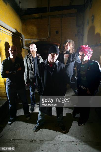Photo of Roy MAYORGA and Jim ROOT and Shawn ECONOMAKI and Josh RAND and STONE SOUR and Corey TAYLOR LR Josh Rand Shawn Economaki Corey Taylor Jim...