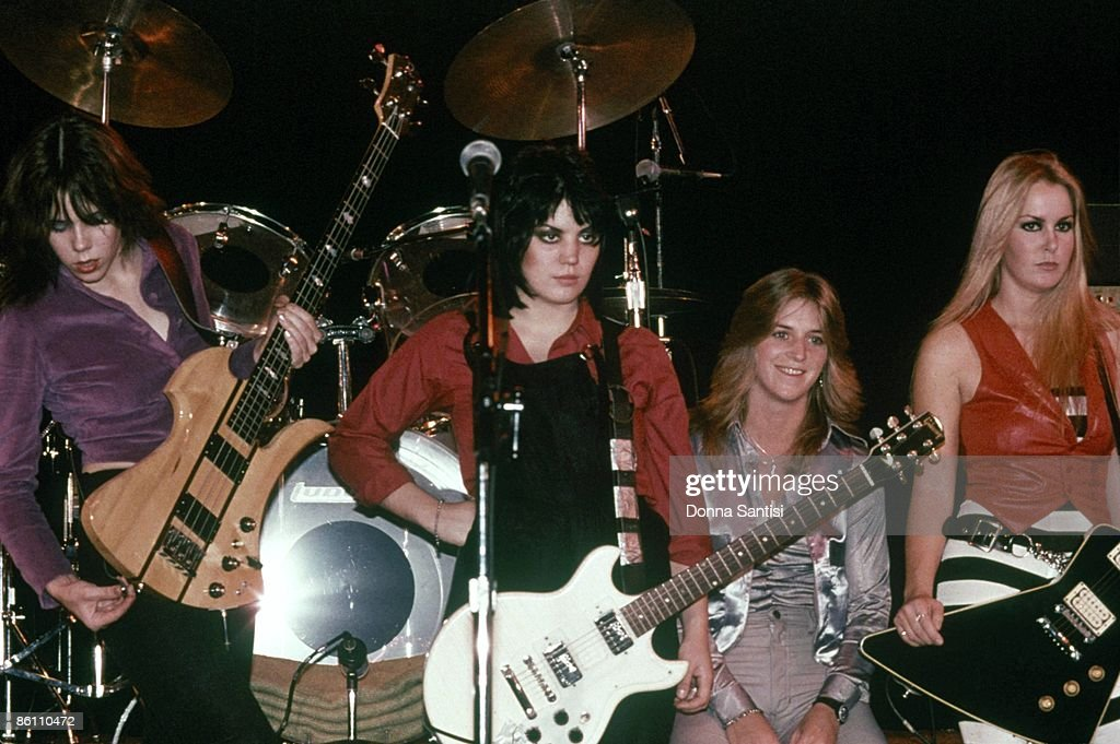 Photo of RUNAWAYS; Live at the Roxy Club. Sandy West is 2nd fron right