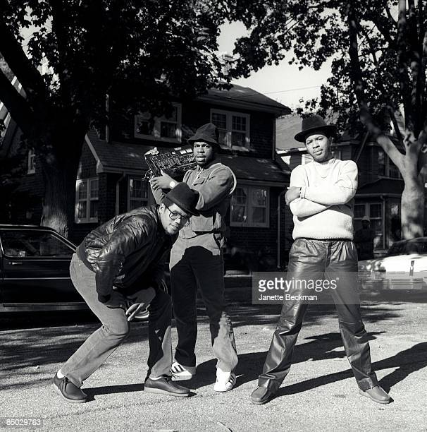 Photo of RunDMC Run DMC Photographed in Hollis Queens NYC 1984