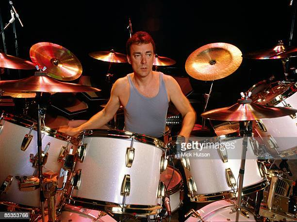 Photo of RUSH and Neil PEART Drummer Neil Peart performing on stage
