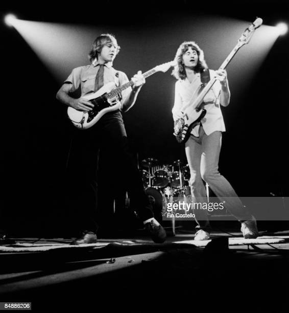 Alex Lifeson and Geddy Lee performing live onstage on ExitStage Left tour