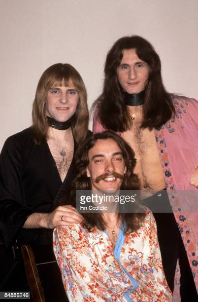 USA Photo of RUSH LR Alex Lifeson Neil Peart Geddy Lee posed group shot