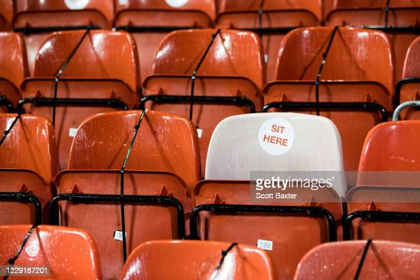 A photo of seating at Pittodrie stadium as games are still being played behind closed doors during the Ladbrokes Premiership match between Aberdeen...