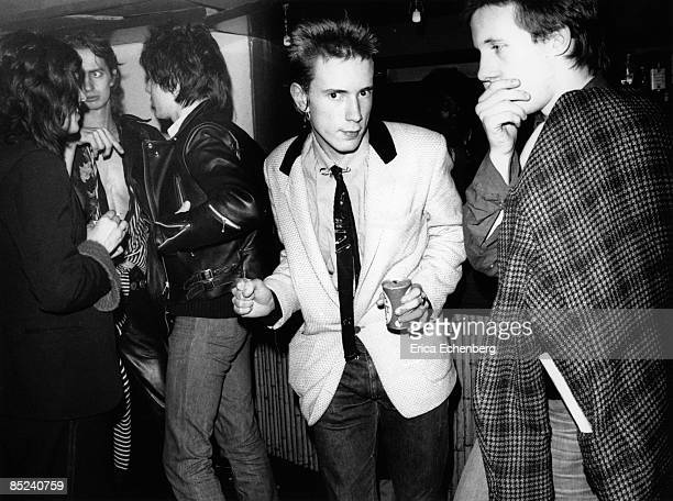 CLUB Photo of SEX PISTOLS and Johnny ROTTEN and Mark PERRY and PUNKS Johnny Rotten with Mark Perry Nick Kent in background