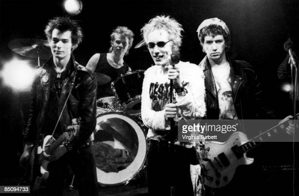 Photo of SEX PISTOLS Group portrait on the set of the Pretty Vacant video shoot LR Sid Vicious Paul Cook Johnny Rotten and Steve Jones
