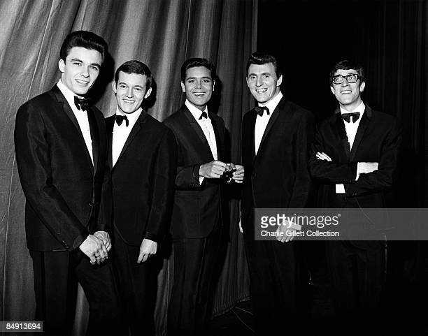 Photo of SHADOWS and Cliff RICHARD; Posed group portrait with The Shadows L-R John Rostill, Brian Bennett, Cliff Richard, Bruce Welch and Hank Marvin