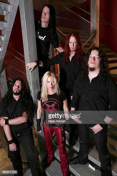 Photo of Sharlee D'ANGELO and ARCH ENEMY and Daniel ERLANDSSON and Michael AMOTT and Fredrik AKESSON and Angela GOSSOW Clockwise from top Daniel...
