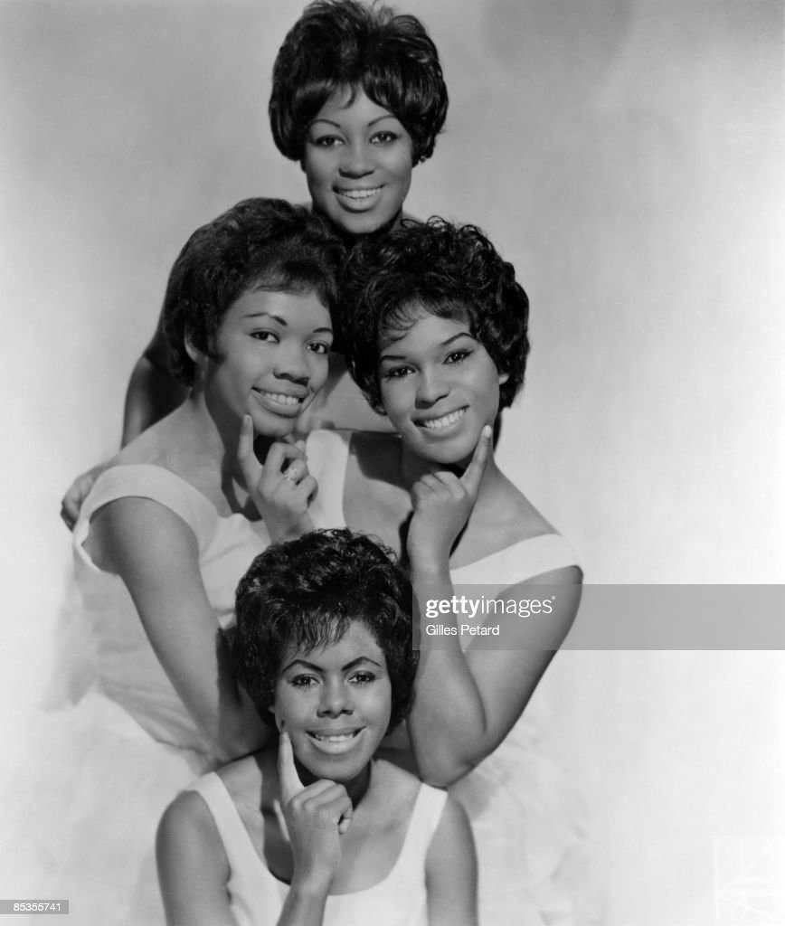 Photo of SHIRELLES; Posed studio group portrait - Addie 'Micki' Harris (top), Doris Kenner-Jackson (centre left), Shirley Alston (centre right) and Beverley Lee