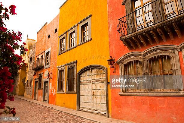 a photo of side-by-side buildings in san miguel de allende - guanajuato stock pictures, royalty-free photos & images