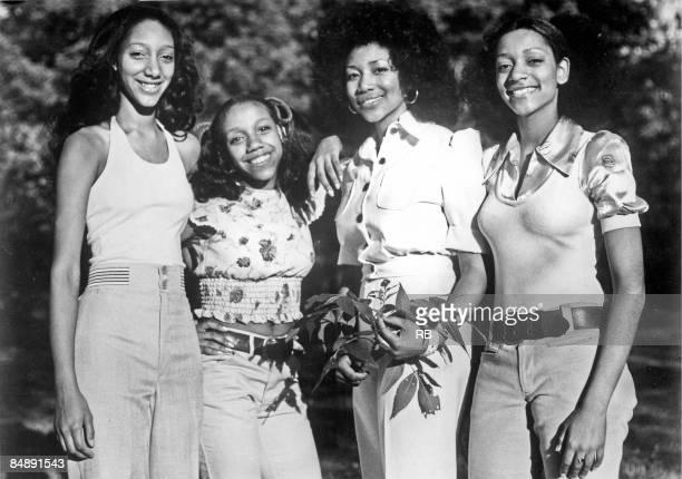 Photo of SISTER SLEDGE Posed group portrait of Debbie Kathy Joni and Kim Sledge