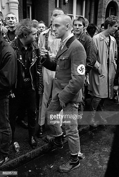 Photo of SKINHEADS and 80'S STYLE and 70'S STYLE and PUNKS Punk mourners on the Sid Vicious memorial march