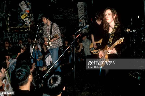Photo of SLOWDIVE Neil Halstead Nick Chaplin Rachel Goswell performing live onstage