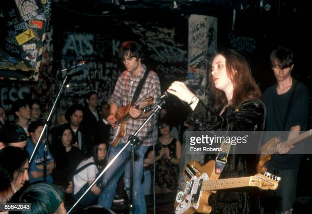 Photo of SLOWDIVE Neil Halstead Rachel Goswell and Nick Chaplin performing live onstage
