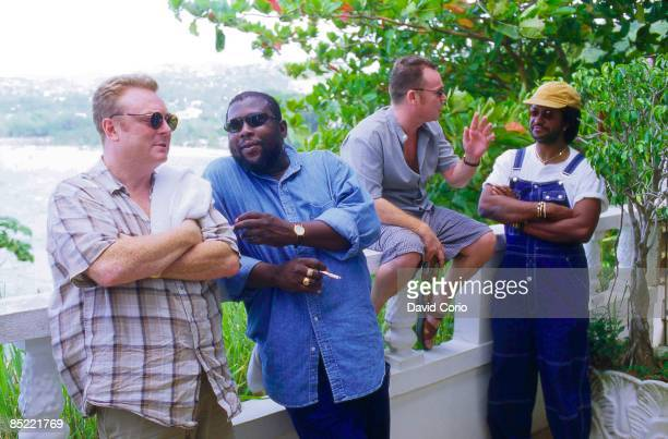 Photo of Sly DUNBAR and Ali CAMPBELL and SLY ROBBIE and UB40 LR Brian Travers Robbie Shakespeare Ali Campbell Sly Dunbar in Oracabessa