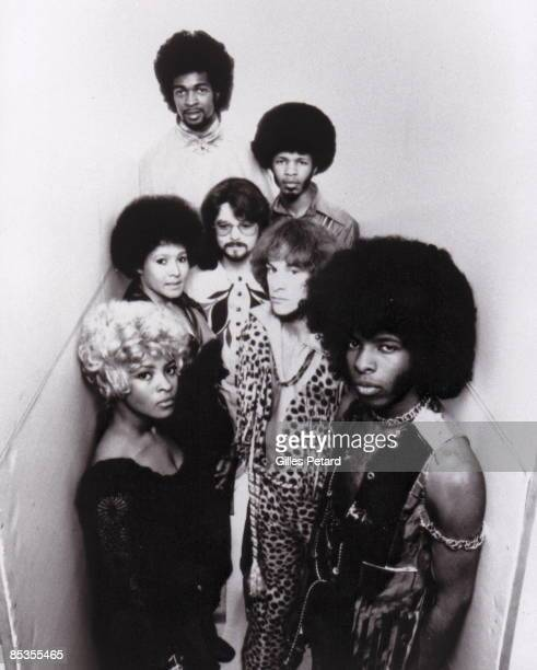 Photo of Sly STONE and Sly The Family STONE Posed studio group portrait Clockwise from top Larry Graham Freddie Stone Gregg Errico Sly Stone Rose...