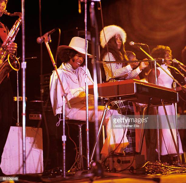 STADIUM Photo of SLY THE FAMILY STONE and Sly STONE Sly Stone performing on stage playing keyboards 193