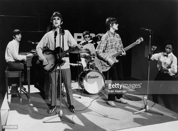 Photo of SMALL FACES, L to R: Ian McLagan, Ronnie Lane, Kenney Jones, Steve Marriott performing live on Ready Steady Go! TV Show at Wembley Studios,...