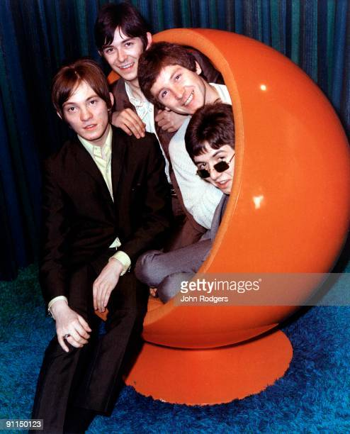 Photo of SMALL FACES; L-R: Steve Marriott, Ian McLagan, Kenney Jones, Ronnie Lane, posed, group shot, in 1960s chair