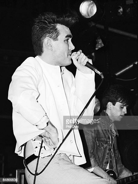 Photo of SMITHS and MORRISSEY and Johnny MARR Morrissey Johnny Marr performing live onstage