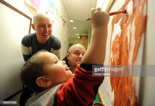 02/10/10 Photo of SMYTH family that uses Magic Castle childcare while mother receives cancer treatment at PMH Nathan Smyth and parents Heather and...