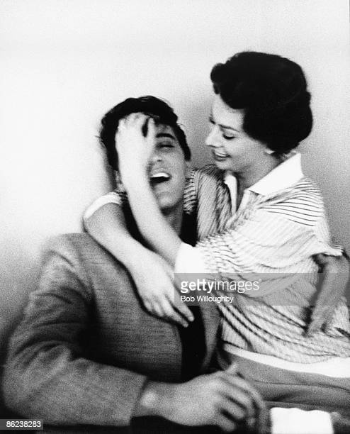 Photo of Sophia LOREN and Elvis PRESLEY; with Sophia Loren, posed