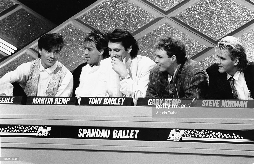 Photo of SPANDAU BALLET; recording the Christmas Pop Quiz. Hosted by Mike Read