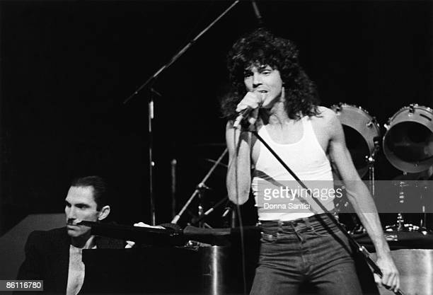 Photo of SPARKS and Ron MAEL and Russell MAEL; Ron and Russell Mael performing on stage, circa 1977