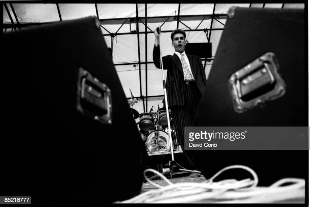 Photo of SPECIALS Terry Hall of The Specials performing at their last show at the Rock Against Racism show Leeds 4 July 1981
