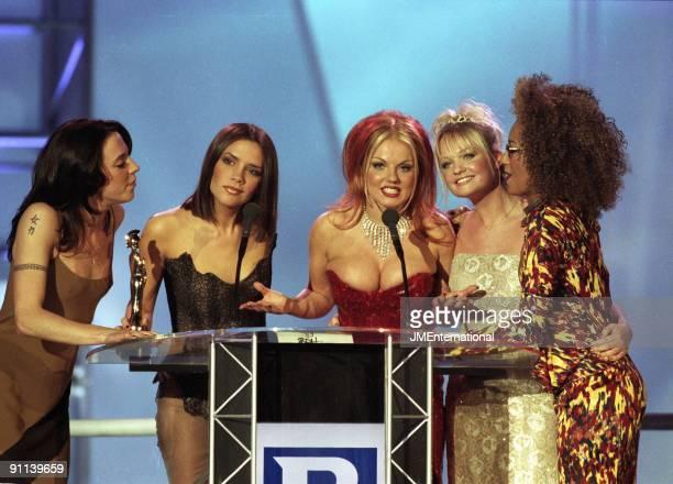 COURT Photo of SPICE GIRLS Group accepting award LR Melanie Chisholm Victoria Adams Geri Halliwell Emma Bunton and Melanie Brown