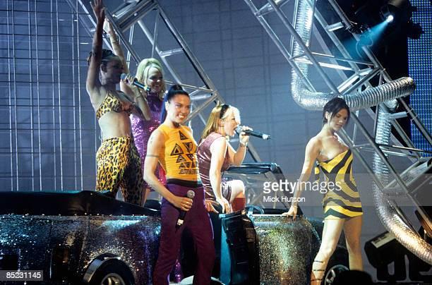 ARENA Photo of SPICE GIRLS Group performing live on stage LR Melanie Brown Emma Bunton Melanie Chisholm Geri Halliwell and Victoria Adams