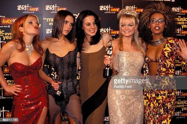 COURT Photo of SPICE GIRLS Group portrait LR Geri Halliwell Victoria Adams Melanie Chisholm Emma Bunton and Melanie Brown